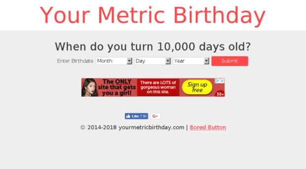 Your metric birthday