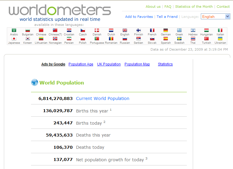 Worldometers – Cool Numbers and Facts