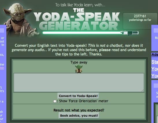 Yoda Speak Generator