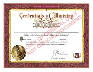 real ordained minister