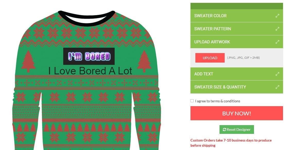 ugly christmas sweater designer