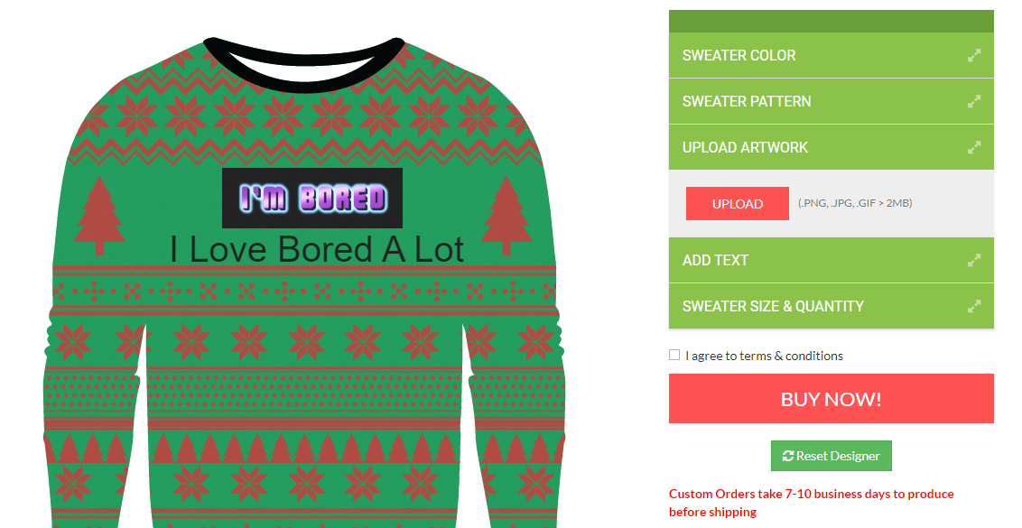 ugly christmas sweater designer